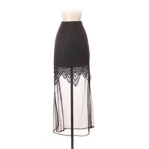 NWT Tobi black maxi skirt with lace detail